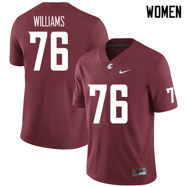 Women #76 Tyler Williams Washington State Cougars College Football Jerseys Sale-Crimson