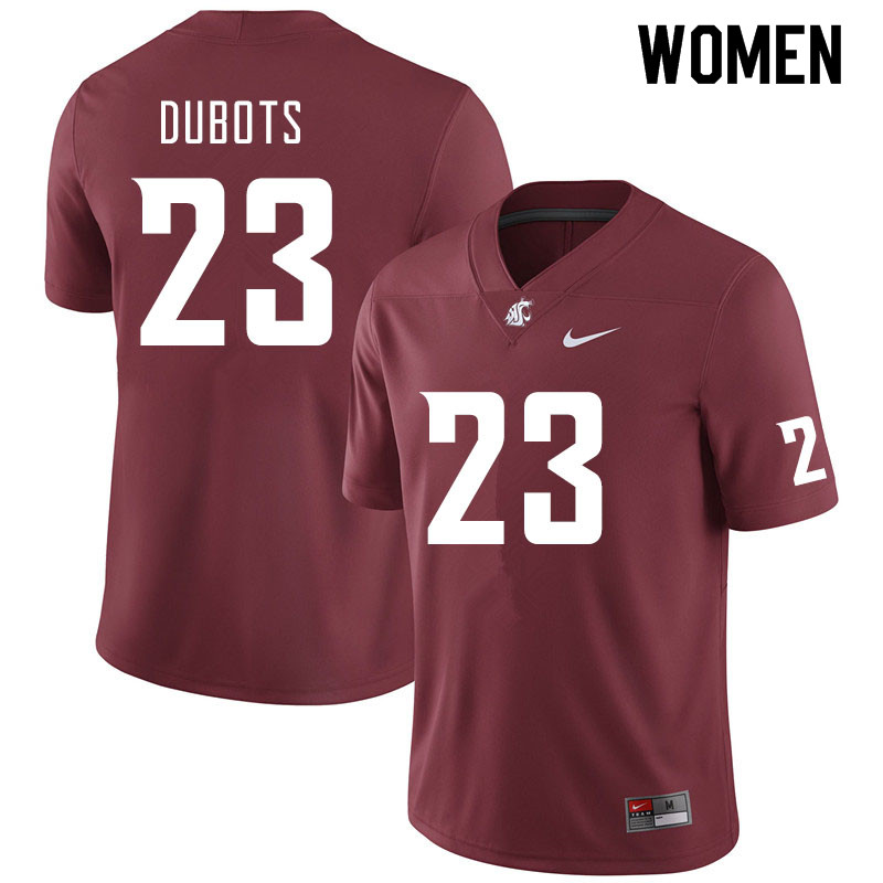 Women #23 Cole Dubots Washington State Cougars College Football Jerseys Sale-Crimson