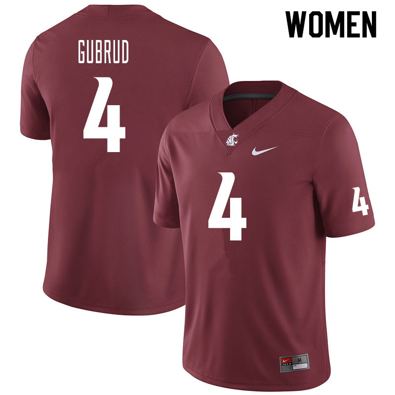 Women #4 Gage Gubrud Washington State Cougars College Football Jerseys Sale-Crimson