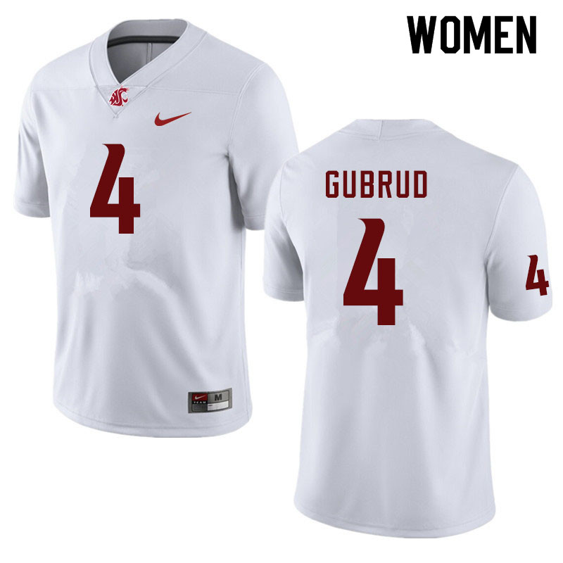 Women #4 Gage Gubrud Washington State Cougars College Football Jerseys Sale-White