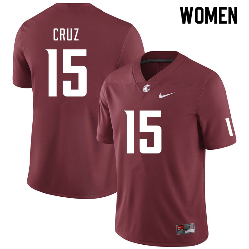 Women #15 Gunner Cruz Washington State Cougars College Football Jerseys Sale-Crimson