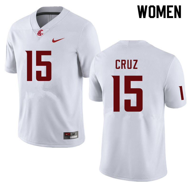 Women #15 Gunner Cruz Washington State Cougars College Football Jerseys Sale-White
