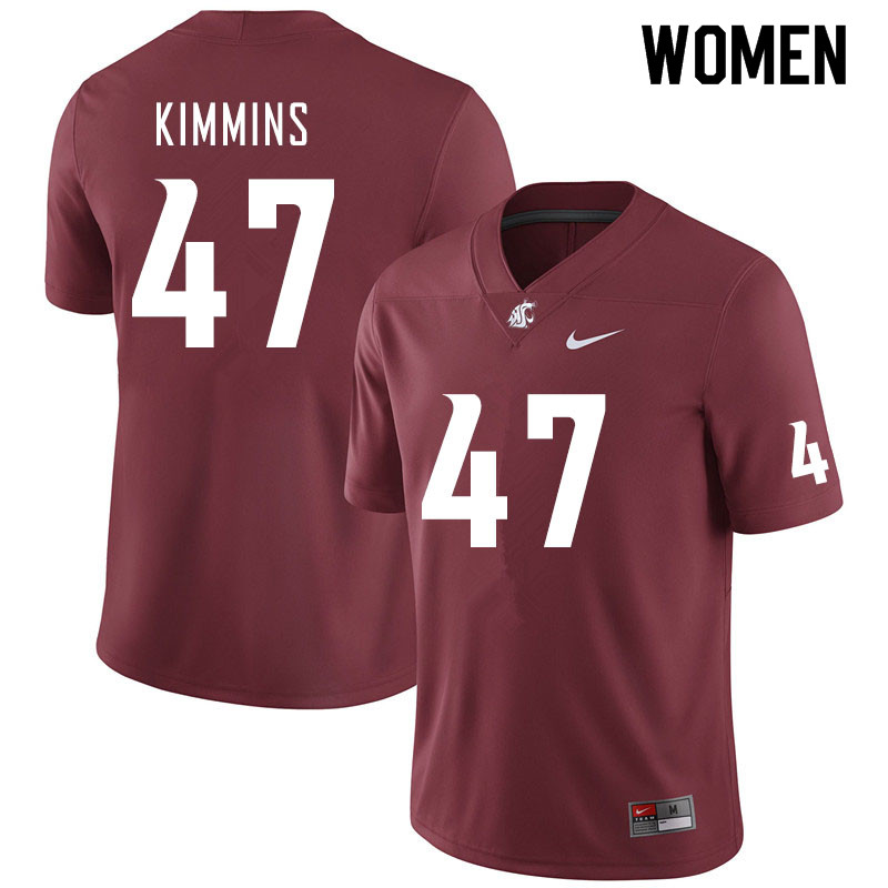 Women #47 Henry Kimmins Washington State Cougars College Football Jerseys Sale-Crimson