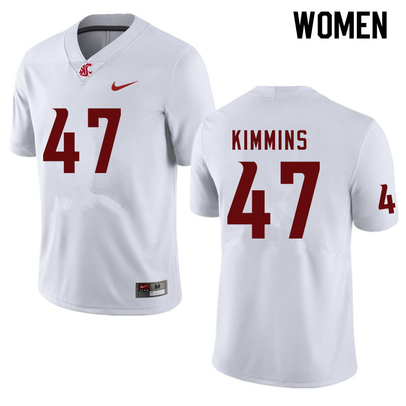 Women #47 Henry Kimmins Washington State Cougars College Football Jerseys Sale-White