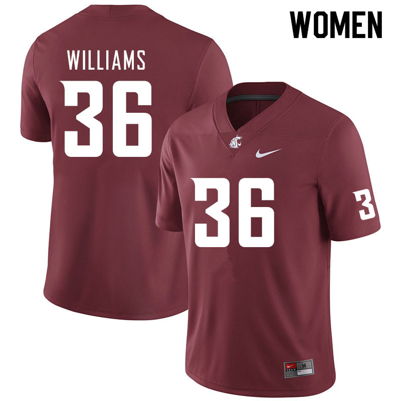 Women #36 Kedron Williams Washington State Cougars College Football Jerseys Sale-Crimson