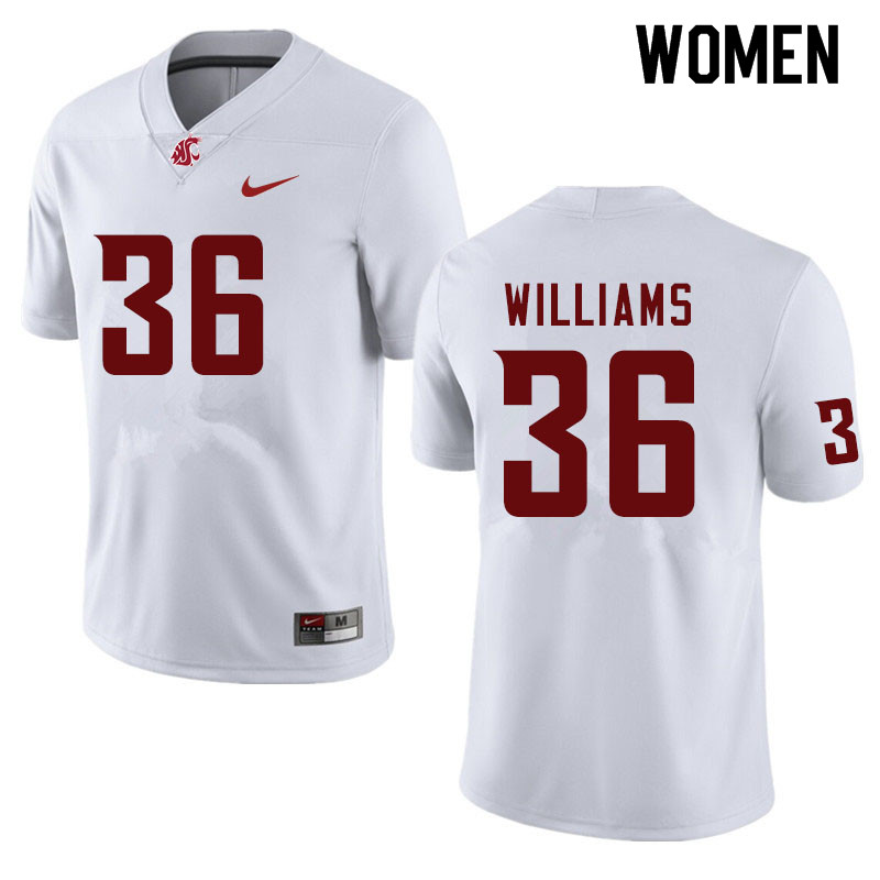 Women #36 Kedron Williams Washington State Cougars College Football Jerseys Sale-White