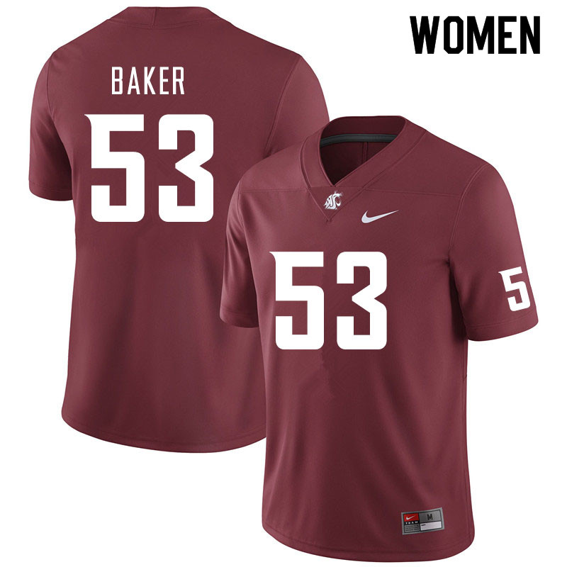 Women #53 Ricky Baker Washington State Cougars College Football Jerseys Sale-Crimson