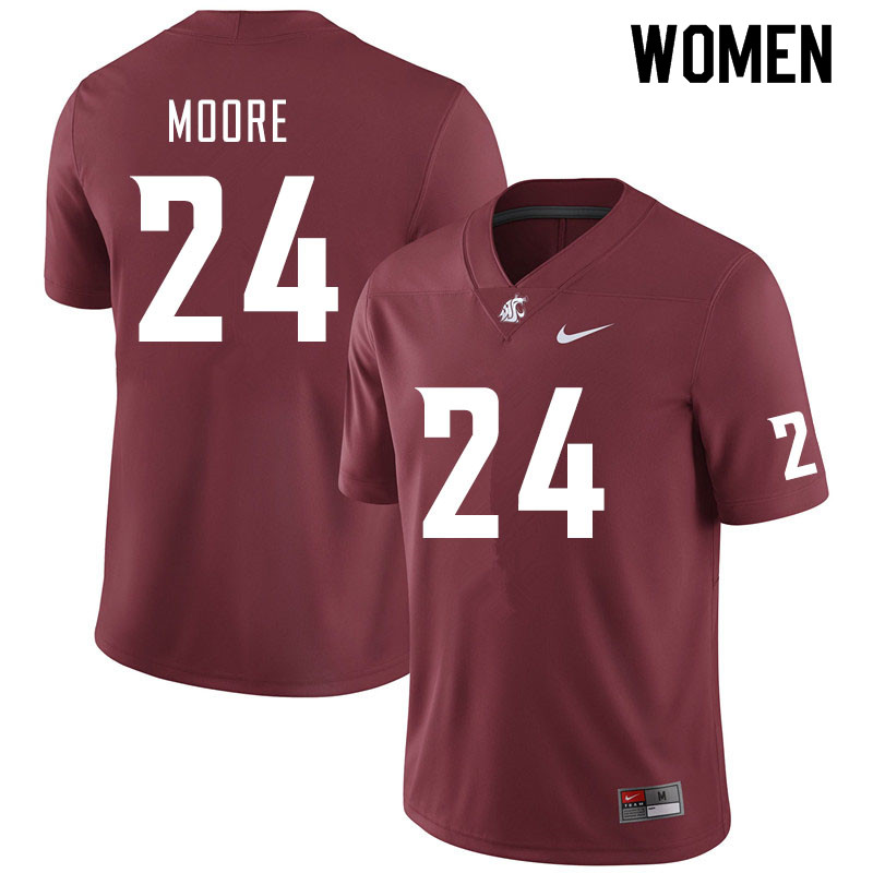 Women #24 Shahman Moore Washington State Cougars College Football Jerseys Sale-Crimson