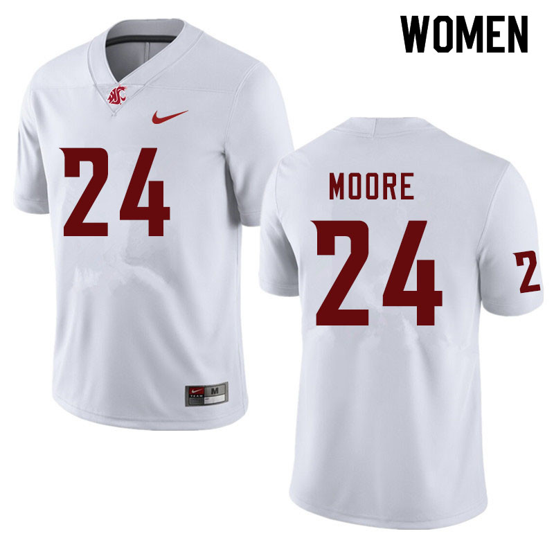 Women #24 Shahman Moore Washington State Cougars College Football Jerseys Sale-White