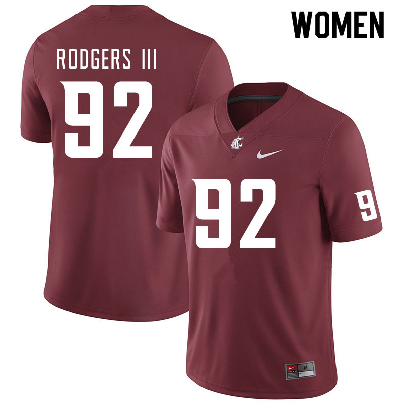 Women #92 Will Rodgers III Washington State Cougars College Football Jerseys Sale-Crimson