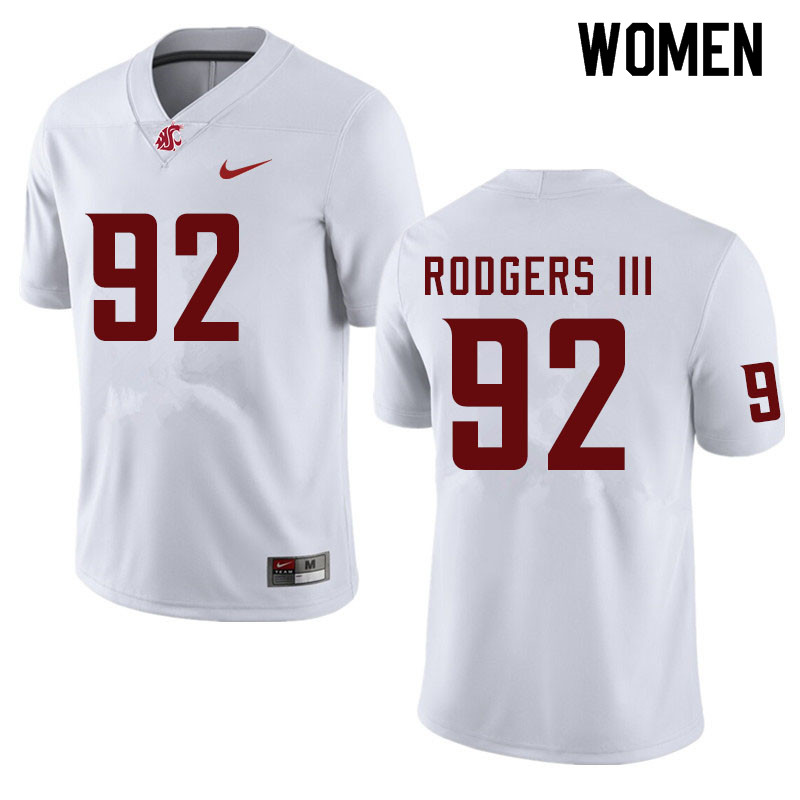 Women #92 Will Rodgers III Washington State Cougars College Football Jerseys Sale-White
