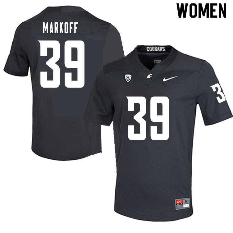Women #39 Clay Markoff Washington State Cougars College Football Jerseys Sale-Charcoal