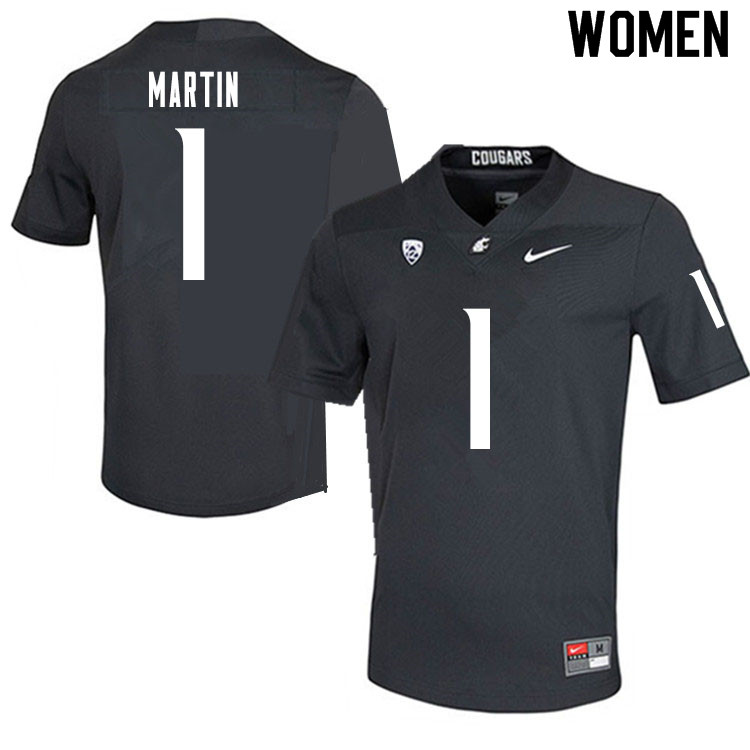 Women #1 Davontavean Martin Washington State Cougars College Football Jerseys Sale-Charcoal