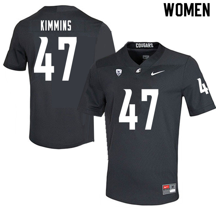 Women #47 Henry Kimmins Washington State Cougars College Football Jerseys Sale-Charcoal