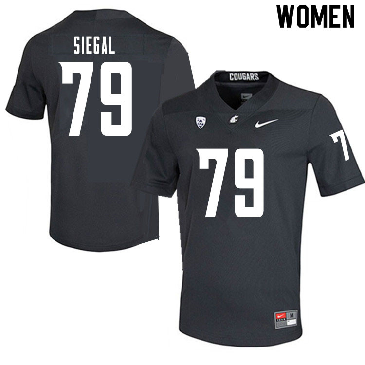 Women #79 Jake Siegal Washington State Cougars College Football Jerseys Sale-Charcoal