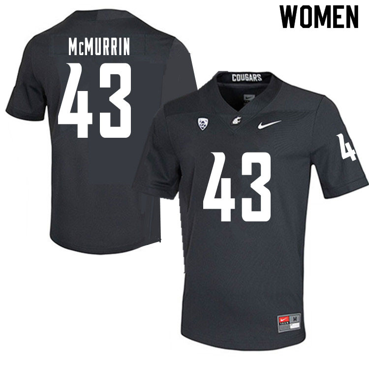 Women #43 Jamal McMurrin Washington State Cougars College Football Jerseys Sale-Charcoal