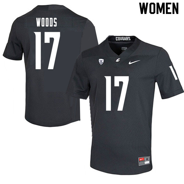 Women #17 Kassidy Woods Washington State Cougars College Football Jerseys Sale-Charcoal