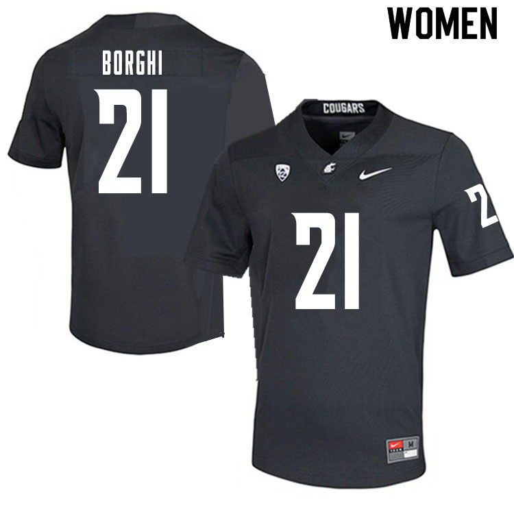 Women #21 Max Borghi Washington State Cougars College Football Jerseys Sale-Charcoal
