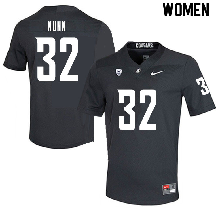 Women #32 Pat Nunn Washington State Cougars College Football Jerseys Sale-Charcoal