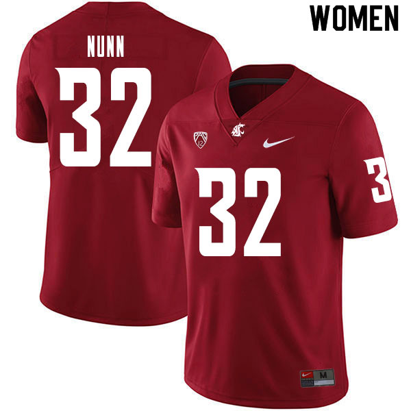 Women #32 Pat Nunn Washington State Cougars College Football Jerseys Sale-Crimson