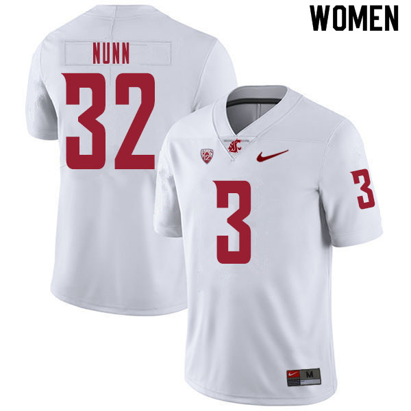 Women #32 Pat Nunn Washington State Cougars College Football Jerseys Sale-White