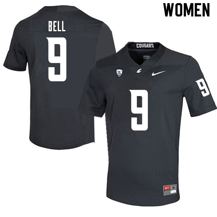 Women #9 Renard Bell Washington State Cougars College Football Jerseys Sale-Charcoal