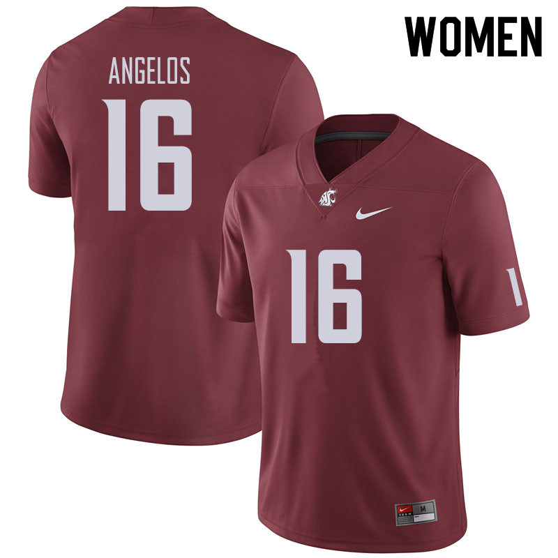 Women #16 Aaron Angelos Washington State Cougars Football Jerseys Sale-Crimson