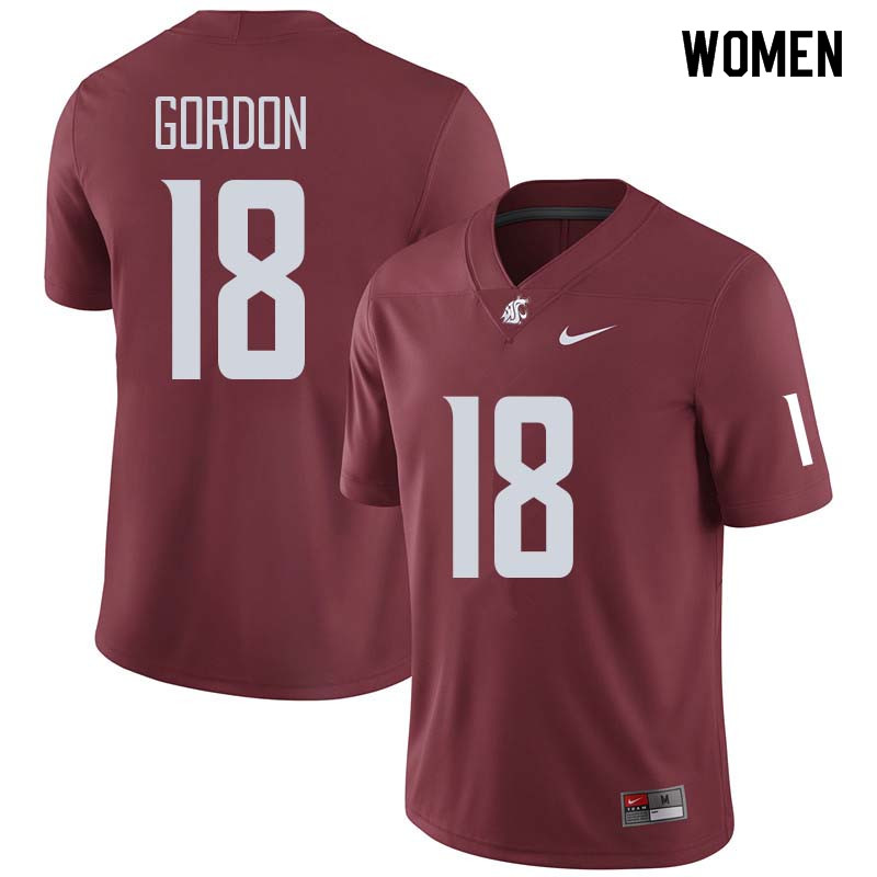 Women #18 Anthony Gordon Washington State Cougars College Football Jerseys Sale-Crimson