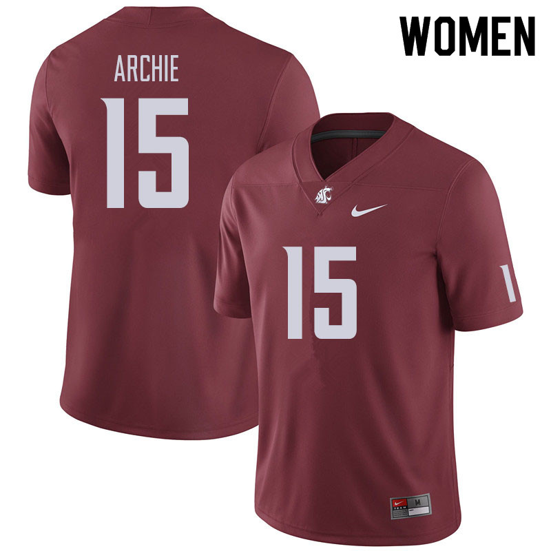 Women #15 Armauni Archie Washington State Cougars Football Jerseys Sale-Crimson