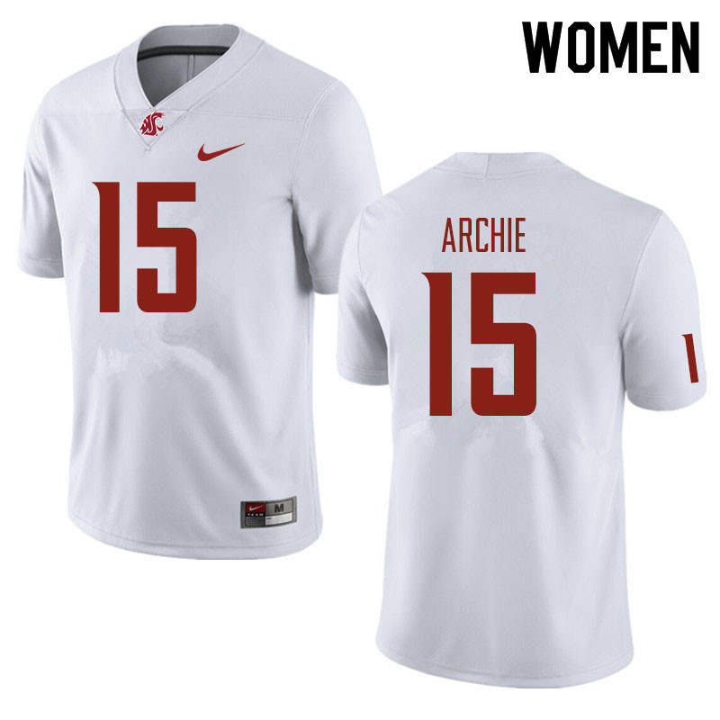 Women #15 Armauni Archie Washington State Cougars Football Jerseys Sale-White