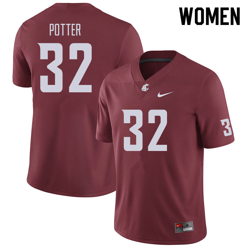 Women #32 Braeden Potter Washington State Cougars Football Jerseys Sale-Crimson