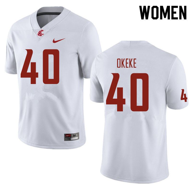 Women #40 Brandy Okeke Washington State Cougars Football Jerseys Sale-White