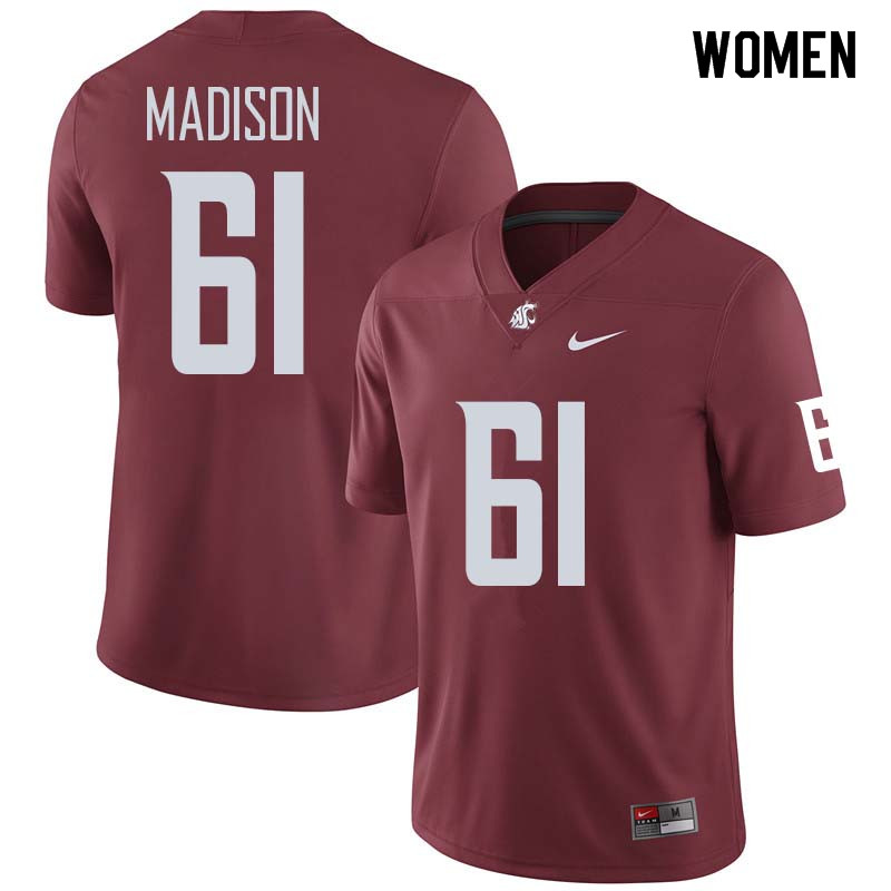Women #61 Cole Madison Washington State Cougars College Football Jerseys Sale-Crimson