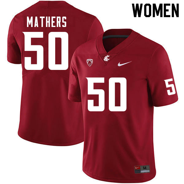 Women #50 Cooper Mathers Washington Cougars College Football Jerseys Sale-Crimson