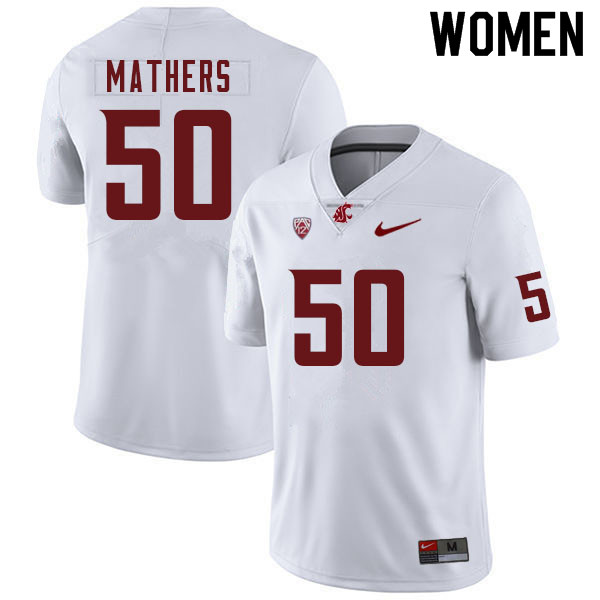 Women #50 Cooper Mathers Washington Cougars College Football Jerseys Sale-White