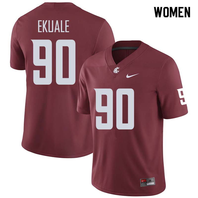 Women #90 Daniel Ekuale Washington State Cougars College Football Jerseys Sale-Crimson