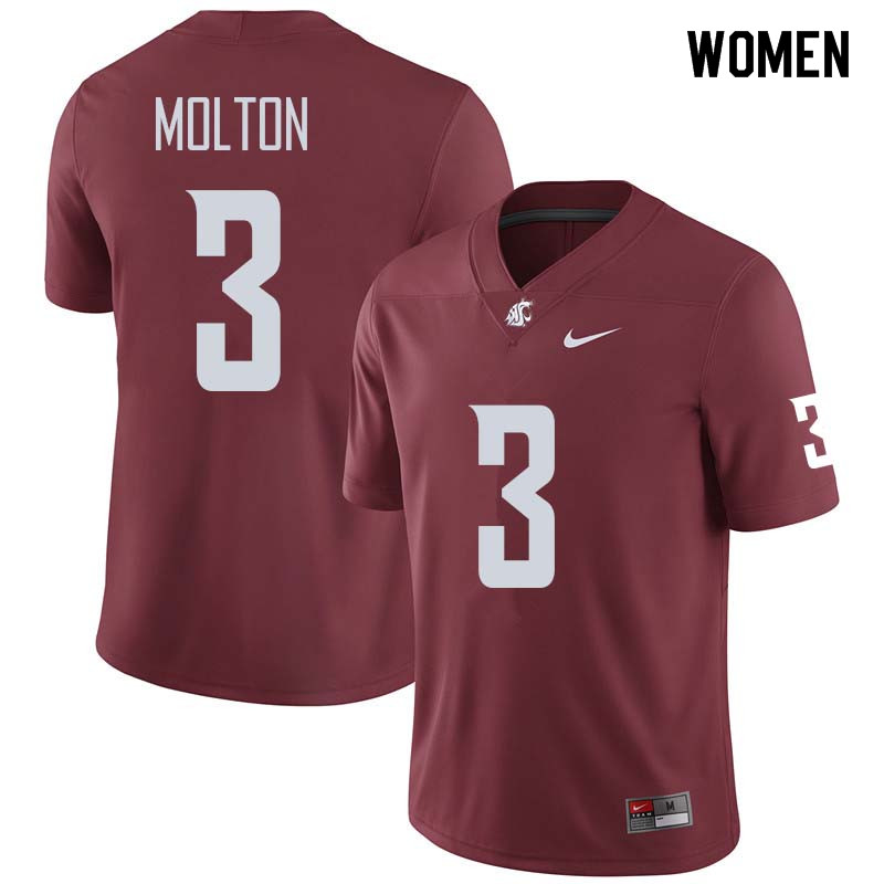 Women #3 Darrien Molton Washington State Cougars College Football Jerseys Sale-Crimson