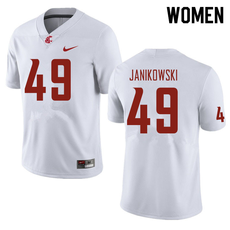 Women #49 Dean Janikowski Washington State Cougars Football Jerseys Sale-White