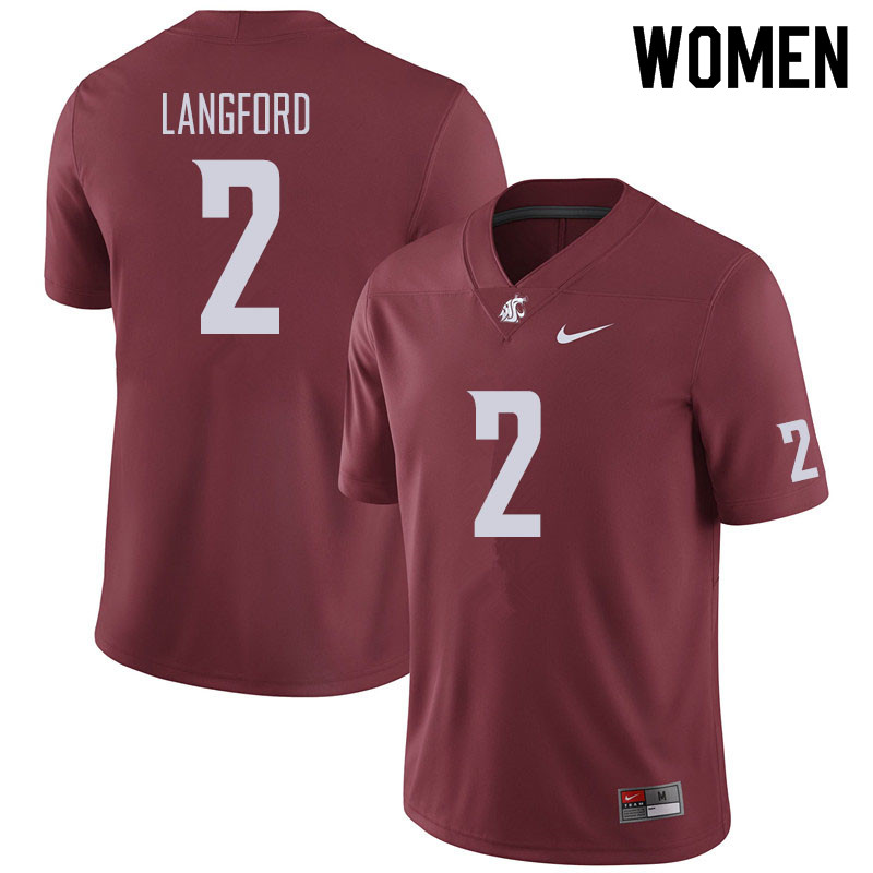 Women #2 Derrick Langford Washington State Cougars Football Jerseys Sale-Crimson