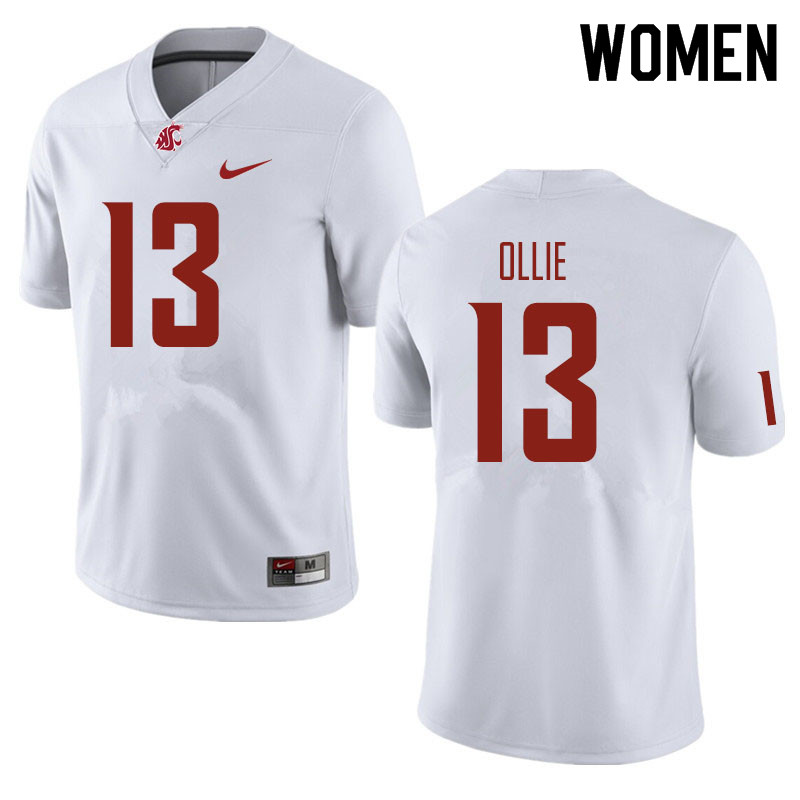 Women #13 Donovan Ollie Washington State Cougars Football Jerseys Sale-White