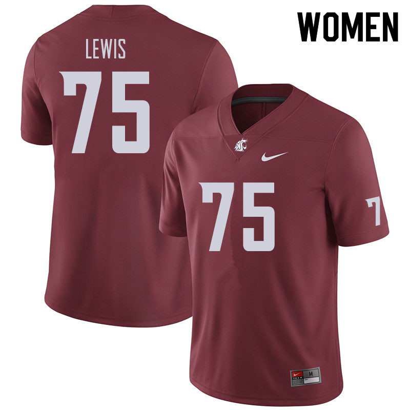 Women #75 Dylan Lewis Washington State Cougars Football Jerseys Sale-Crimson