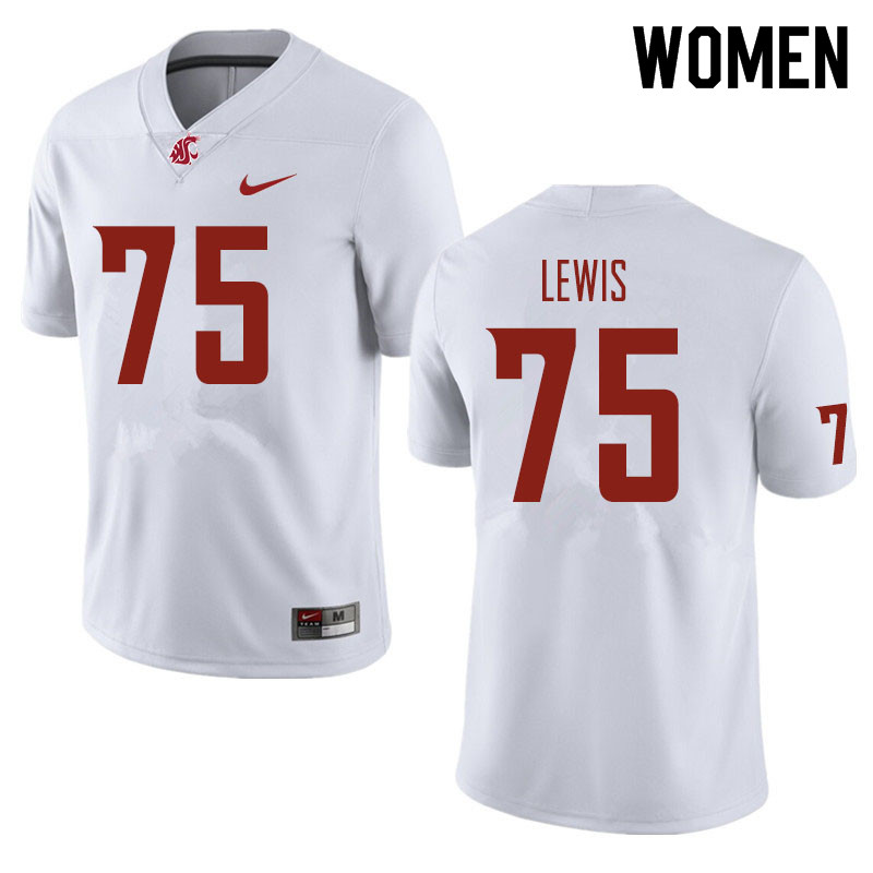 Women #75 Dylan Lewis Washington State Cougars Football Jerseys Sale-White