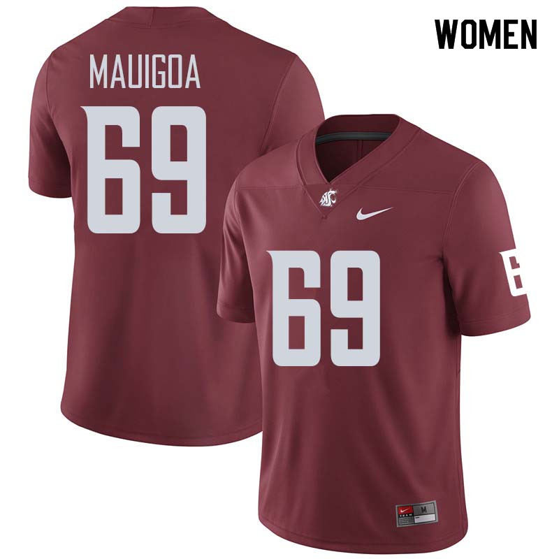Women #69 Frederick Mauigoa Washington State Cougars College Football Jerseys Sale-Crimson
