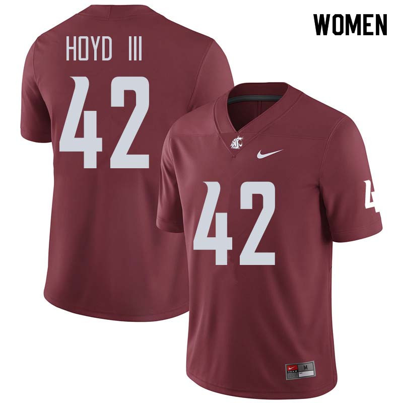 Women #42 Greg Hoyd III Washington State Cougars College Football Jerseys Sale-Crimson
