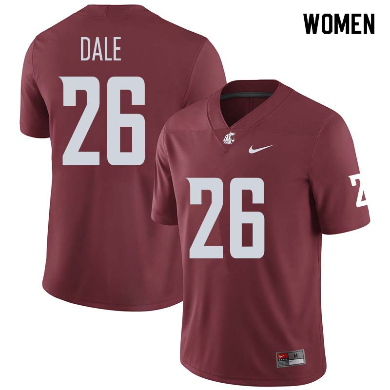 Women #26 Hunter Dale Washington State Cougars College Football Jerseys Sale-Crimson
