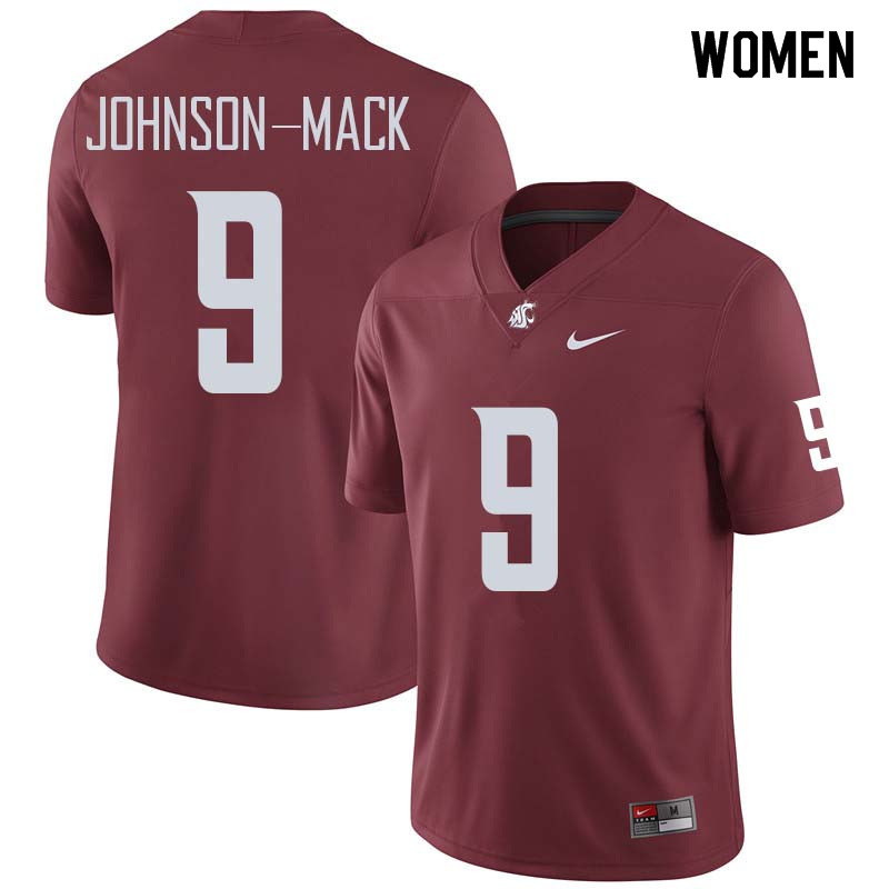 Women #9 Isaiah Johnson-Mack Washington State Cougars College Football Jerseys Sale-Crimson