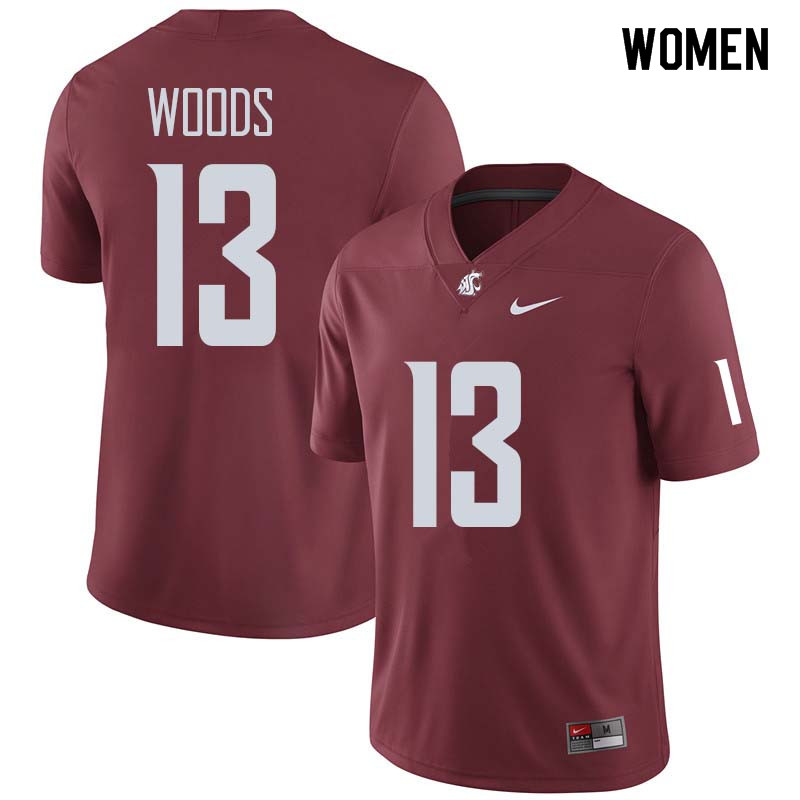 Women #13 Jahad Woods Washington State Cougars College Football Jerseys Sale-Crimson