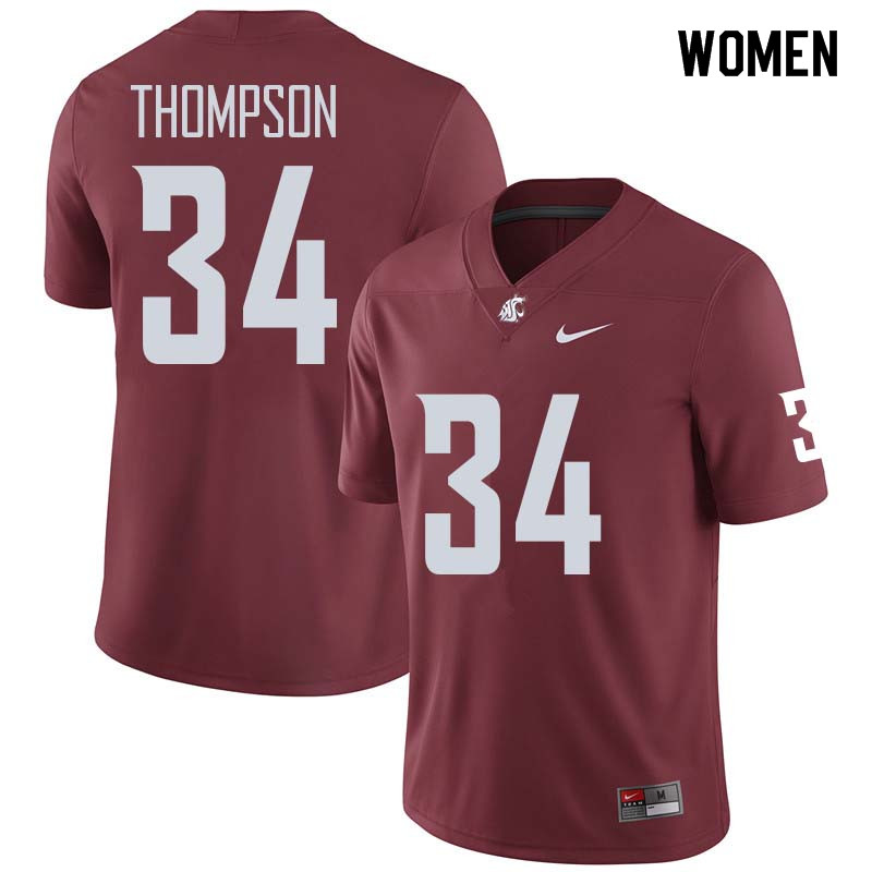 Women #34 Jalen Thompson Washington State Cougars College Football Jerseys Sale-Crimson