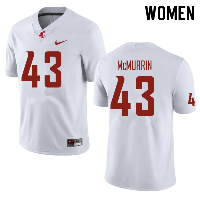 Women #43 Jamal McMurrin Washington State Cougars Football Jerseys Sale-White