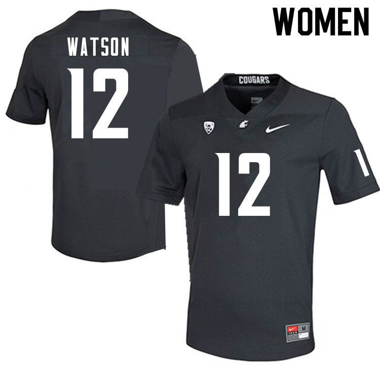 Women #12 Jaylen Watson Washington Cougars College Football Jerseys Sale-Charcoal